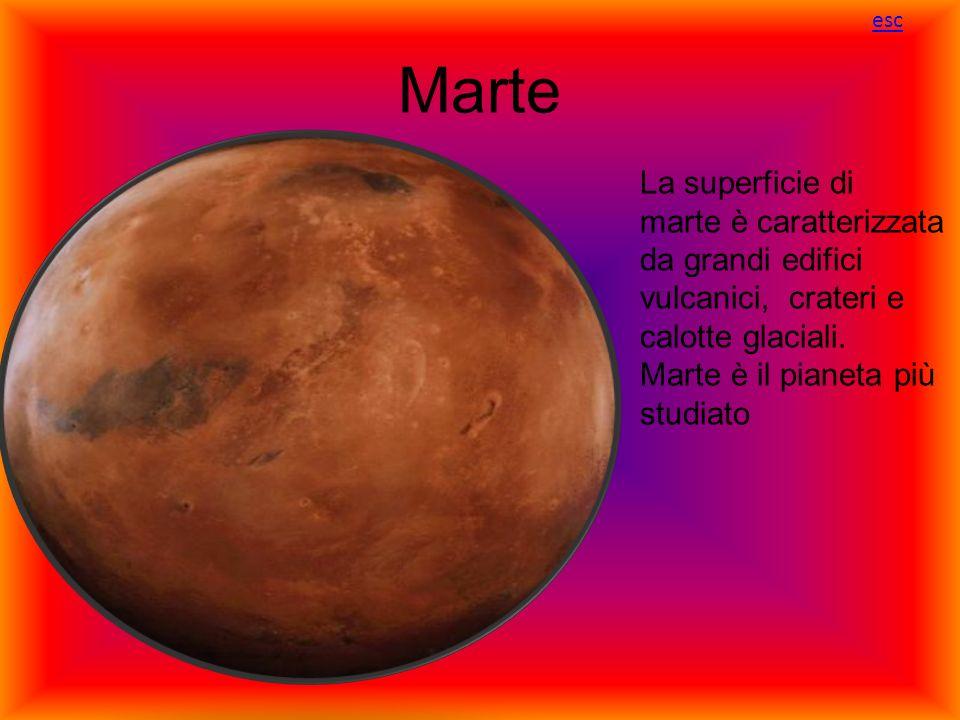 Marte La superficie di marte è caratterizzata da grandi edifici vulcanici, crateri e calotte glaciali. Marte è il pianeta più studiato esc
