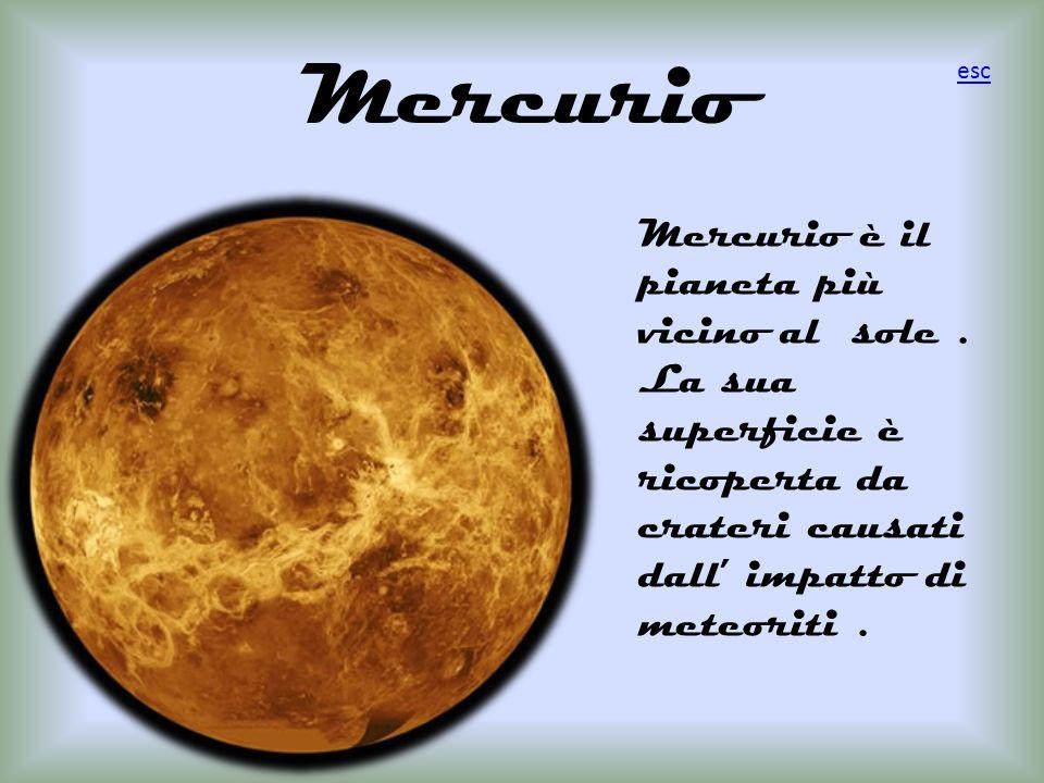 Mercurio Mercurio è il pianeta più vicino al sole. La sua superficie è ricoperta da crateri causati dall impatto di meteoriti. esc