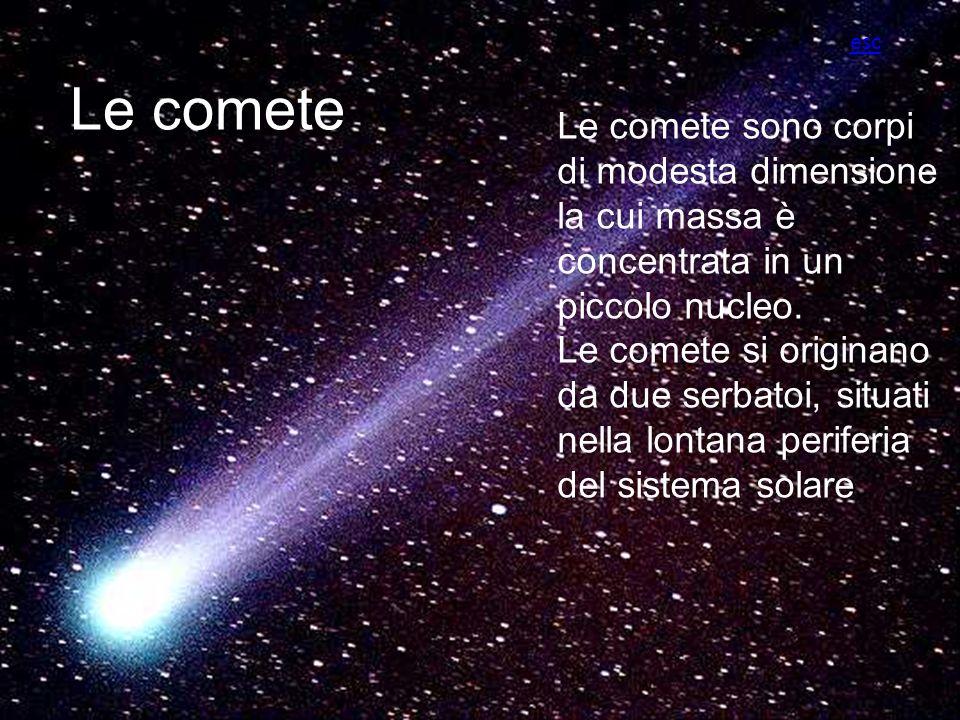 Le comete Le comete sono corpi di modesta dimensione la cui massa è concentrata in un piccolo nucleo. Le comete si originano da due serbatoi, situati