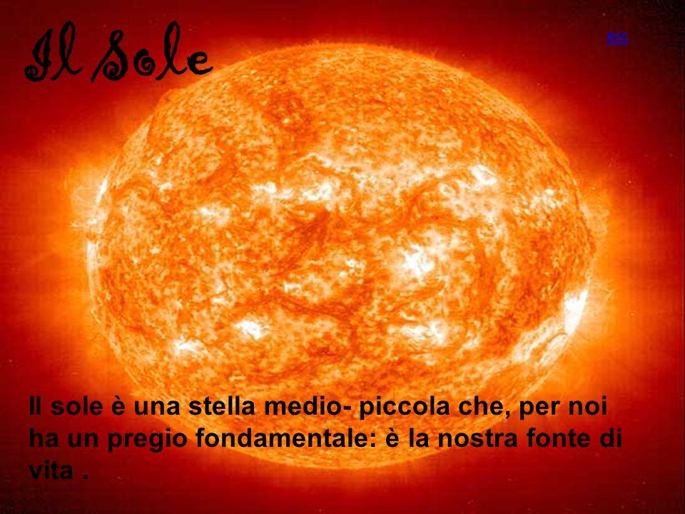 Il Sole Il sole è una stella medio- piccola che, per noi ha un pregio fondamentale: è la nostra fonte di vita. esc