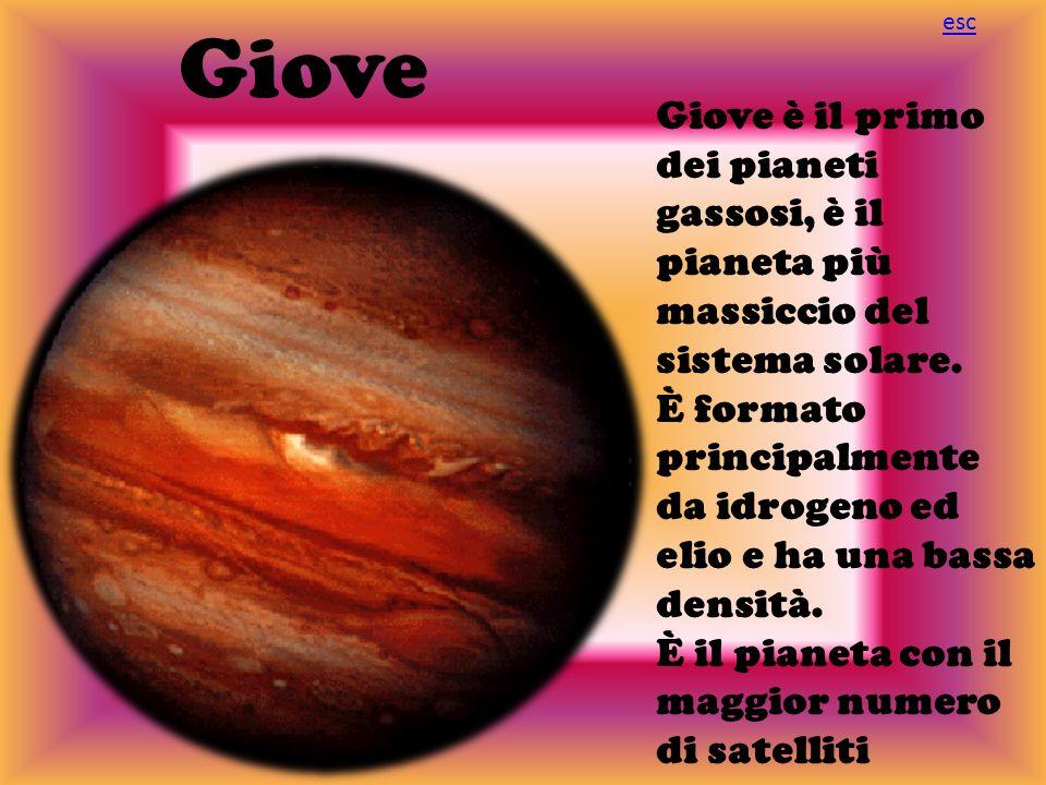 Giove Giove è il primo dei pianeti gassosi, è il pianeta più massiccio del sistema solare. È formato principalmente da idrogeno ed elio e ha una bassa
