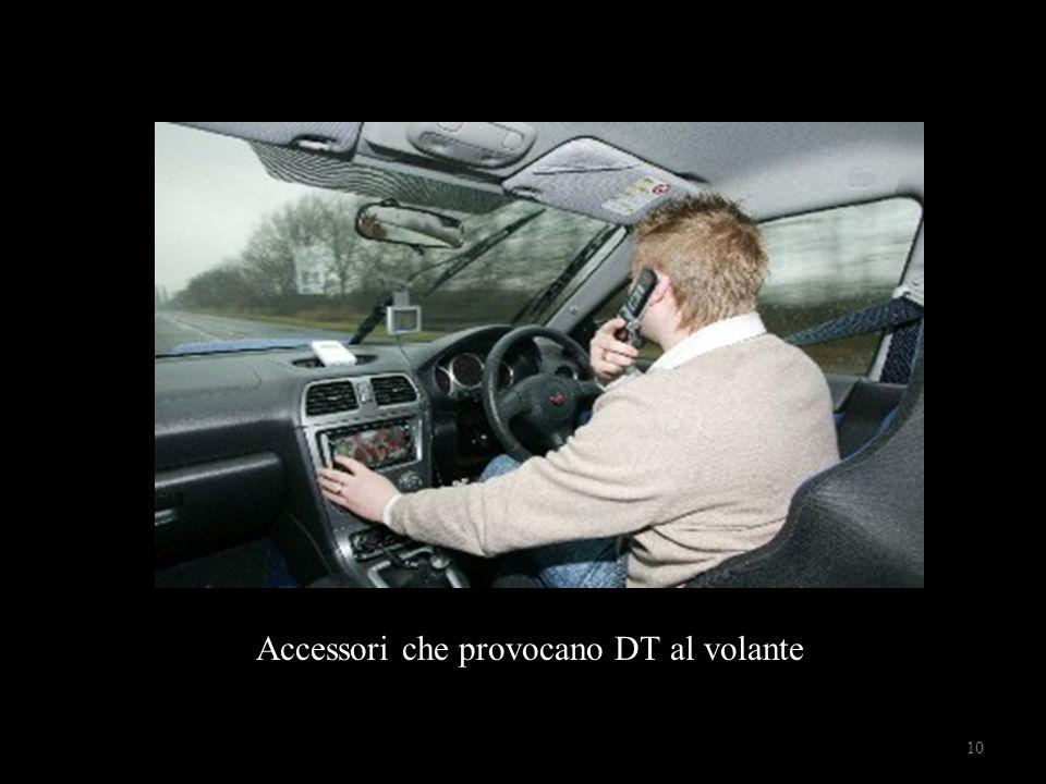 Automobilista al telefono Accessori che provocano DT al volante 10