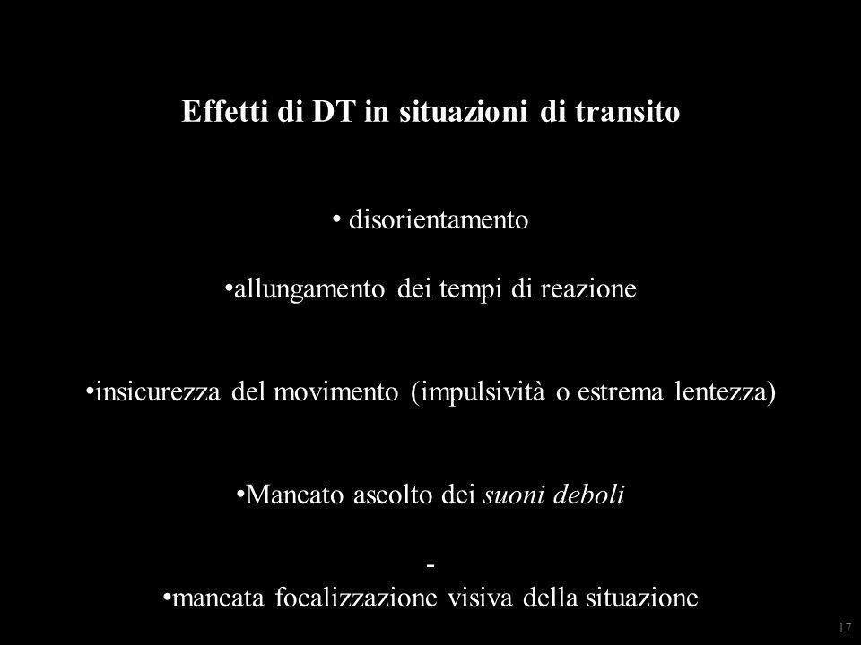 Effetti di DT in situazioni di transito disorientamento allungamento dei tempi di reazione insicurezza del movimento (impulsività o estrema lentezza) Mancato ascolto dei suoni deboli - mancata focalizzazione visiva della situazione 17