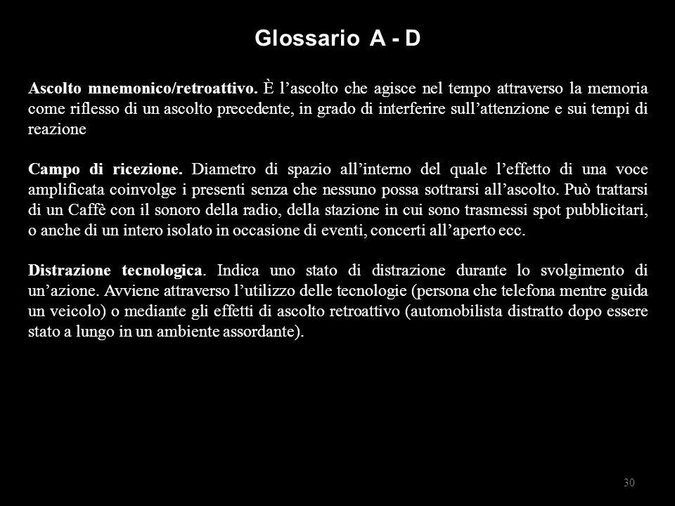 Glossario A - D Ascolto mnemonico/retroattivo.