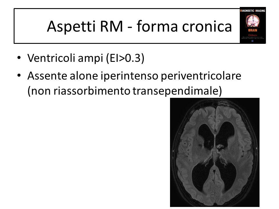 Aspetti RM - forma cronica Ventricoli ampi (EI>0.3) Assente alone iperintenso periventricolare (non riassorbimento transependimale)