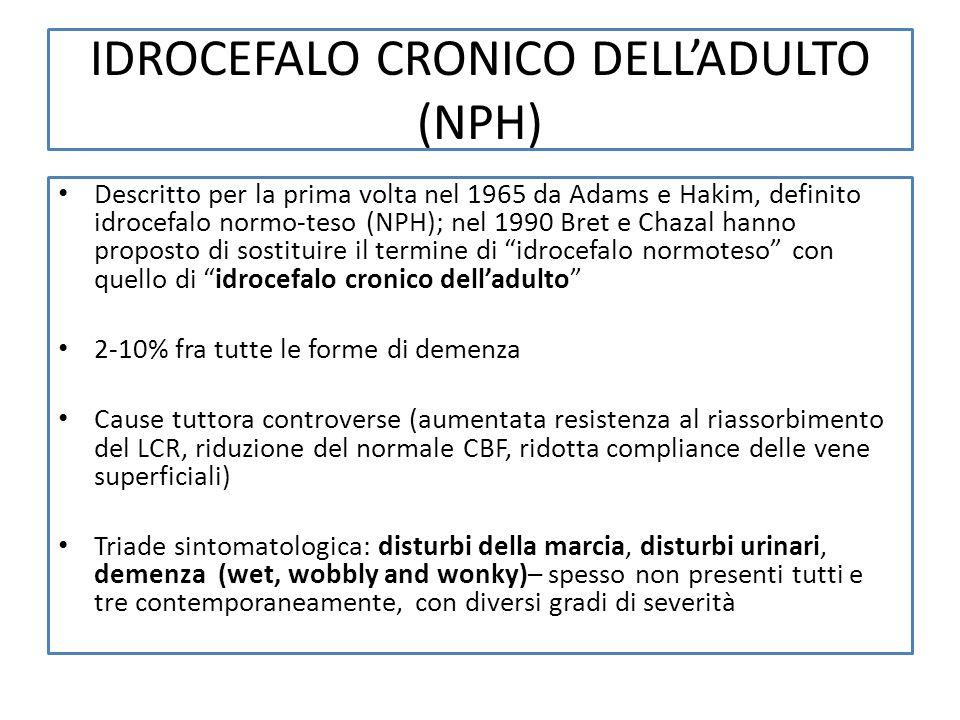 IDROCEFALO CRONICO DELLADULTO (NPH) Descritto per la prima volta nel 1965 da Adams e Hakim, definito idrocefalo normo-teso (NPH); nel 1990 Bret e Chaz