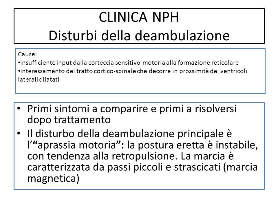 CLINICA NPH Disturbi della deambulazione Primi sintomi a comparire e primi a risolversi dopo trattamento Il disturbo della deambulazione principale è