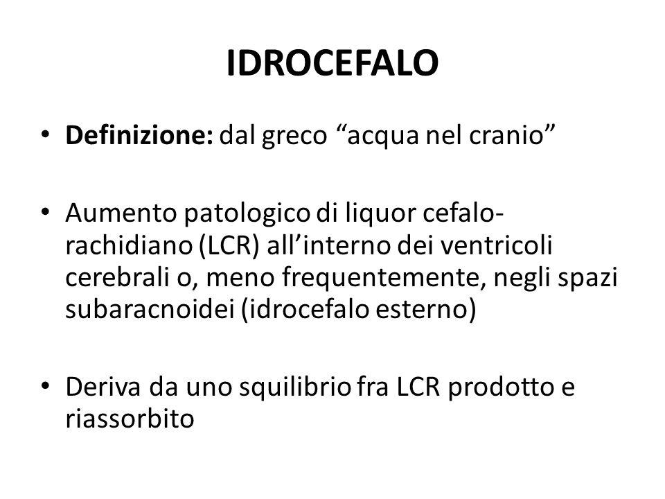 IDROCEFALO Definizione: dal greco acqua nel cranio Aumento patologico di liquor cefalo- rachidiano (LCR) allinterno dei ventricoli cerebrali o, meno f