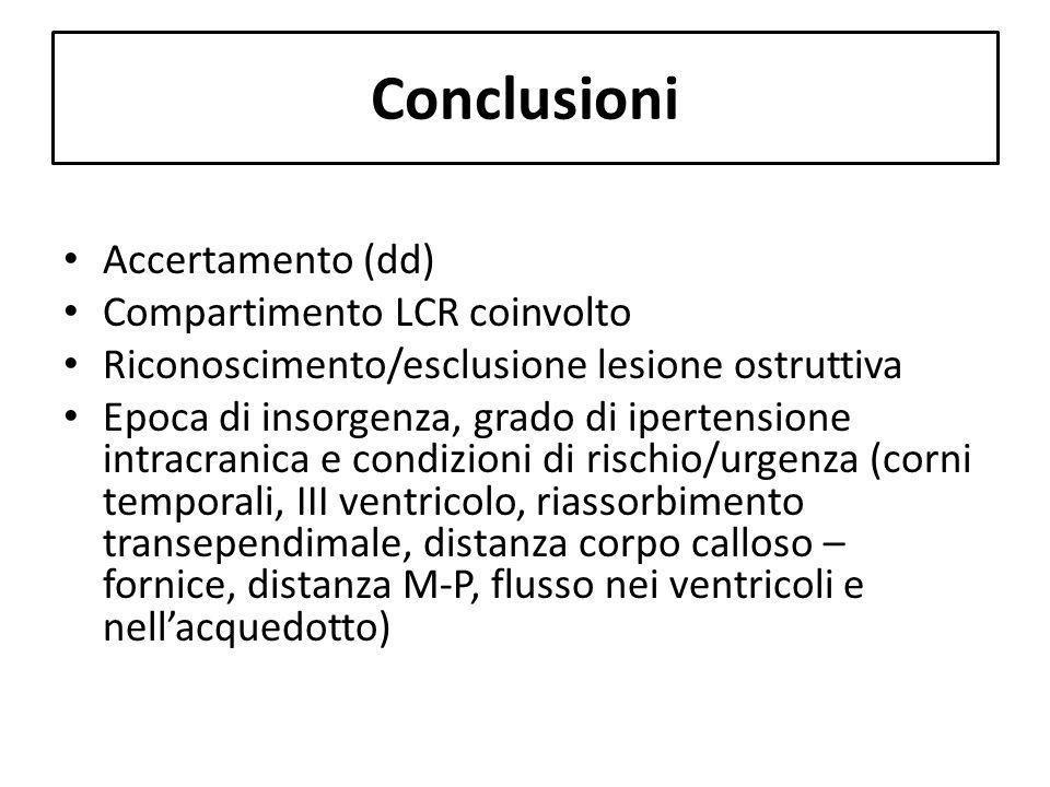 Conclusioni Accertamento (dd) Compartimento LCR coinvolto Riconoscimento/esclusione lesione ostruttiva Epoca di insorgenza, grado di ipertensione intr