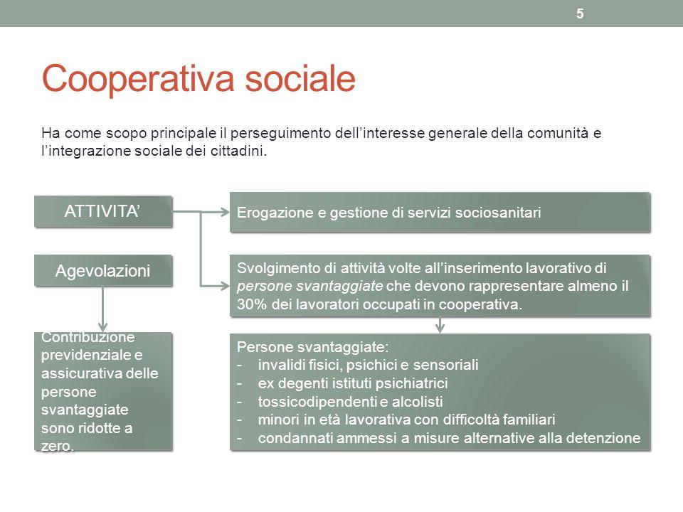 Cooperativa sociale Ha come scopo principale il perseguimento dellinteresse generale della comunità e lintegrazione sociale dei cittadini. 5 ATTIVITA