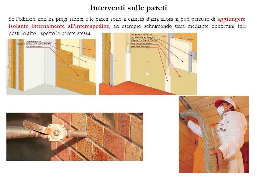 Interventi sulle pareti Se ledificio non ha pregi storici e le pareti sono a camera daria allora si può pensare di aggiungere isolante internamente al