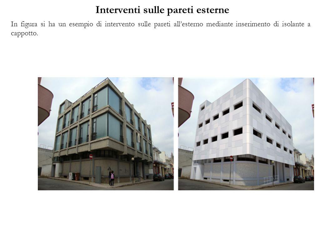 Interventi sulle pareti esterne In figura si ha un esempio di intervento sulle pareti allesterno mediante inserimento di isolante a cappotto.