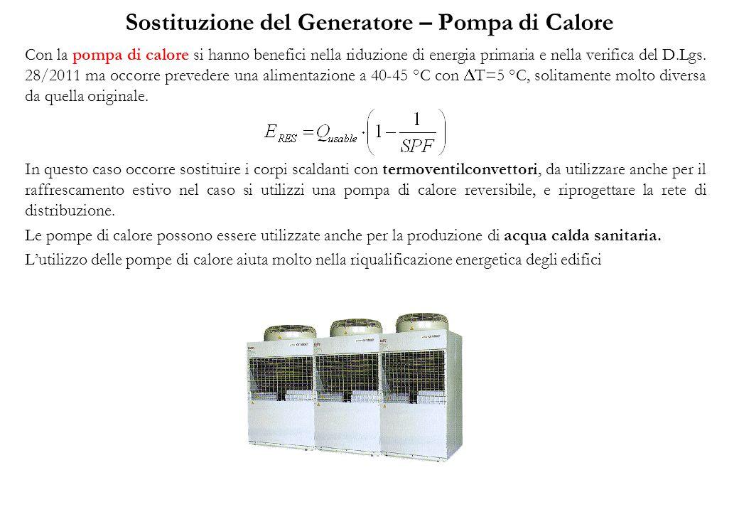 Sostituzione del Generatore – Pompa di Calore Con la pompa di calore si hanno benefici nella riduzione di energia primaria e nella verifica del D.Lgs.