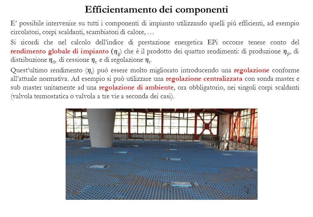 Efficientamento dei componenti E possibile intervenire su tutti i componenti di impianto utilizzando quelli più efficienti, ad esempio circolatori, co