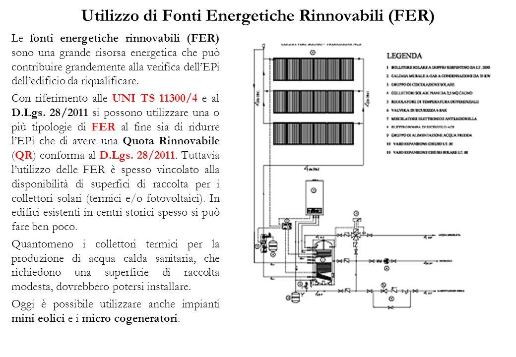 Utilizzo di Fonti Energetiche Rinnovabili (FER) Le fonti energetiche rinnovabili (FER) sono una grande risorsa energetica che può contribuire grandemente alla verifica dellEPi delledificio da riqualificare.