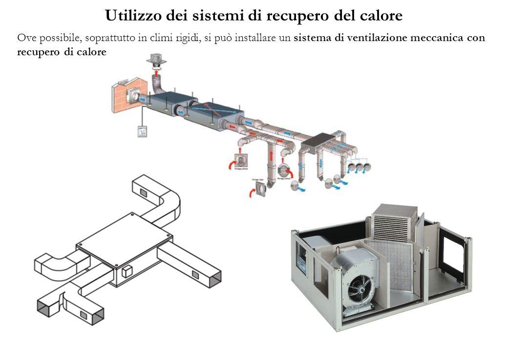 Utilizzo dei sistemi di recupero del calore Ove possibile, soprattutto in climi rigidi, si può installare un sistema di ventilazione meccanica con rec
