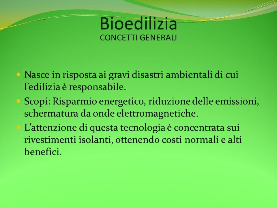 Bioedilizia Nasce in risposta ai gravi disastri ambientali di cui ledilizia è responsabile. Scopi: Risparmio energetico, riduzione delle emissioni, sc