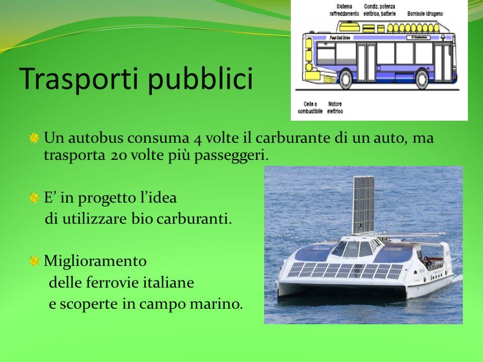 Trasporti pubblici Un autobus consuma 4 volte il carburante di un auto, ma trasporta 20 volte più passeggeri. E in progetto lidea di utilizzare bio ca