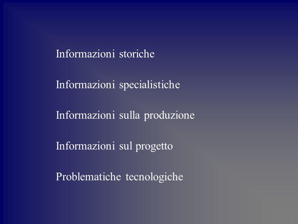 Informazioni storiche Informazioni specialistiche Informazioni sulla produzione Informazioni sul progetto Problematiche tecnologiche