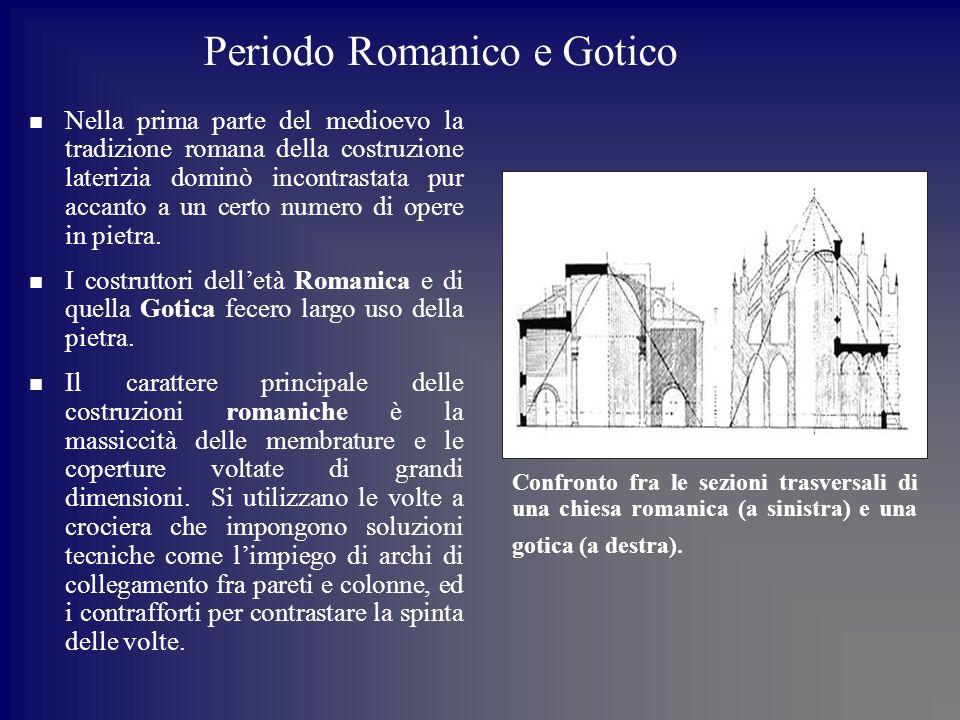Periodo Romanico e Gotico Nella prima parte del medioevo la tradizione romana della costruzione laterizia dominò incontrastata pur accanto a un certo numero di opere in pietra.