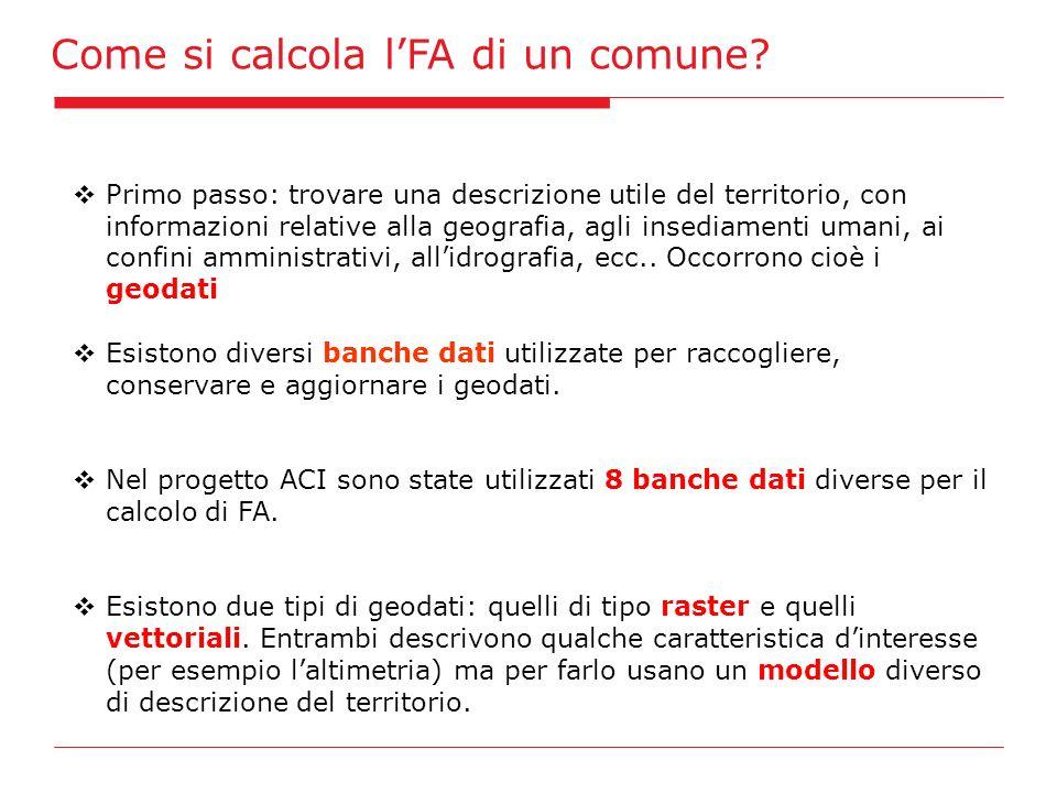 Come si calcola lFA di un comune? Primo passo: trovare una descrizione utile del territorio, con informazioni relative alla geografia, agli insediamen