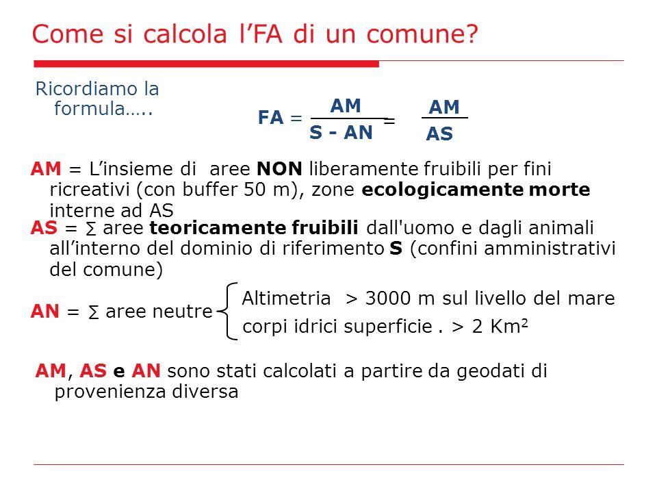 Ricordiamo la formula….. AM S - AN FA= AM = Linsieme di aree NON liberamente fruibili per fini ricreativi (con buffer 50 m), zone ecologicamente morte