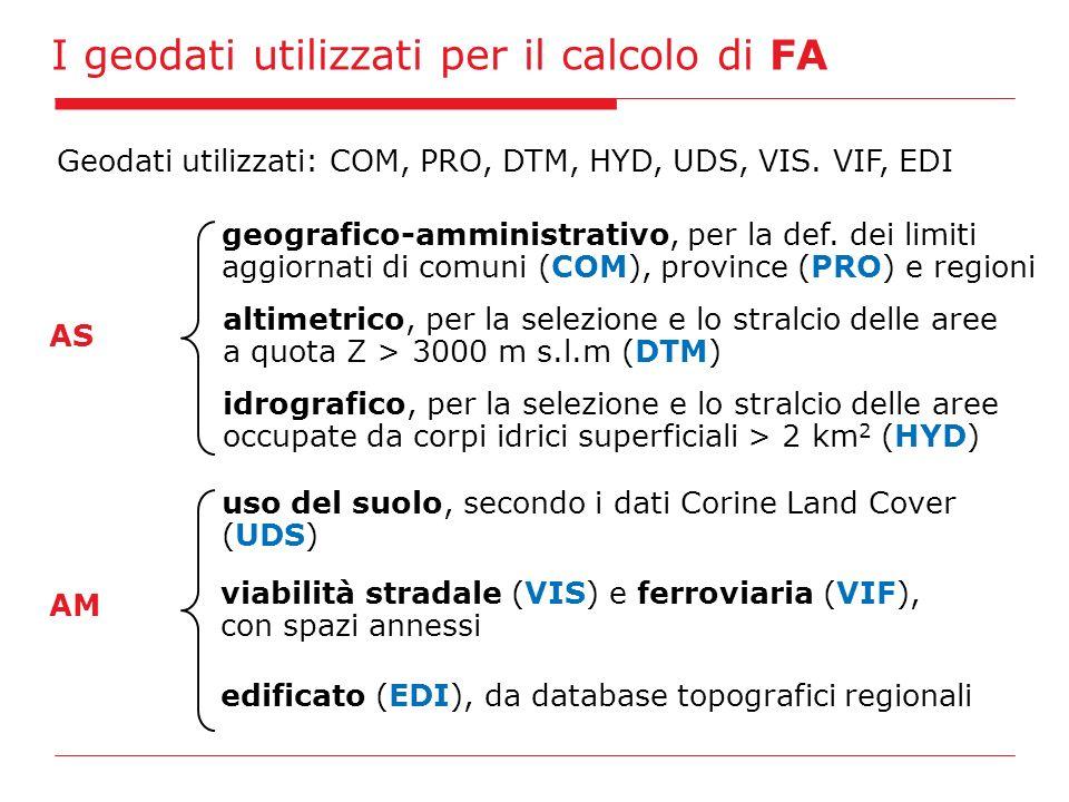 I geodati utilizzati per il calcolo di FA Geodati utilizzati: COM, PRO, DTM, HYD, UDS, VIS. VIF, EDI AS geografico-amministrativo, per la def. dei lim