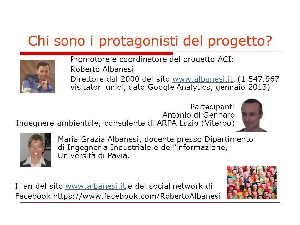 Chi sono i protagonisti del progetto? Promotore e coordinatore del progetto ACI: Roberto Albanesi Direttore dal 2000 del sito www.albanesi.it, (1.547.