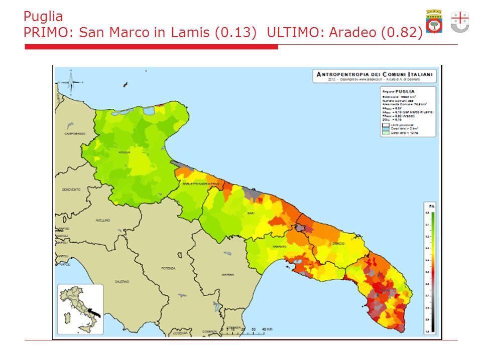 Puglia PRIMO: San Marco in Lamis (0.13) ULTIMO: Aradeo (0.82)