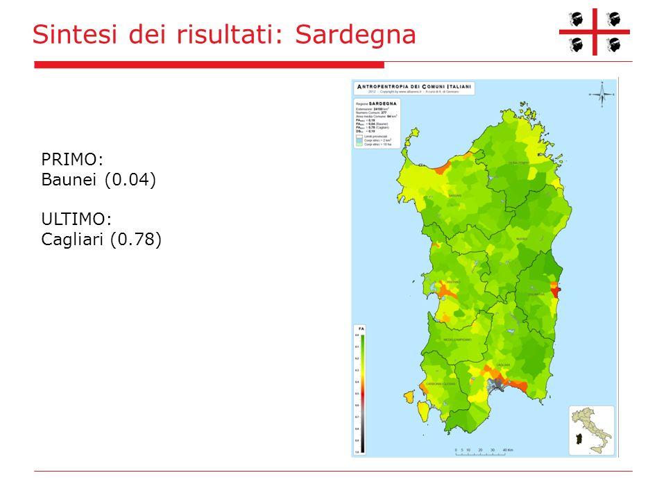 Sintesi dei risultati: Sardegna PRIMO: Baunei (0.04) ULTIMO: Cagliari (0.78)