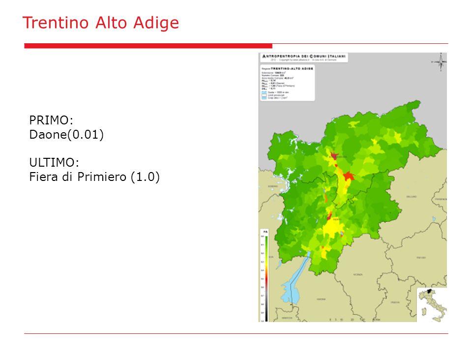 Trentino Alto Adige PRIMO: Daone(0.01) ULTIMO: Fiera di Primiero (1.0)