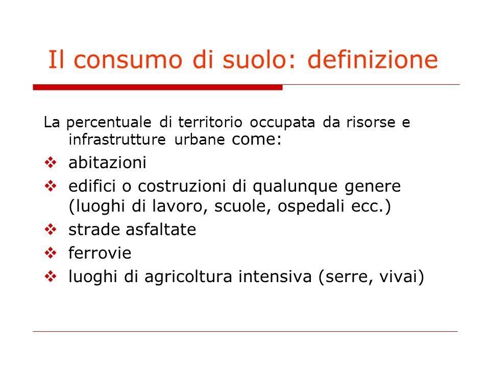 Il consumo di suolo: definizione La percentuale di territorio occupata da risorse e infrastrutture urbane come: abitazioni edifici o costruzioni di qu