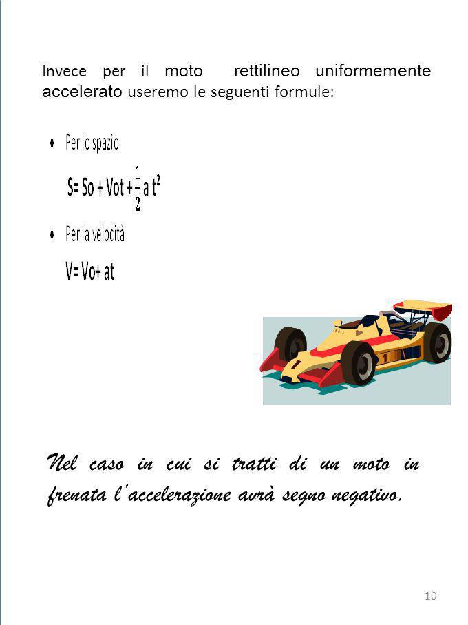 Invece per il moto rettilineo uniformemente accelerato useremo le seguenti formule: Nel caso in cui si tratti di un moto in frenata laccelerazione avrà segno negativo.
