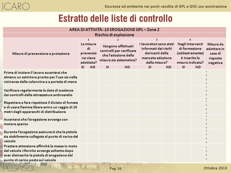 Pag. 16 Ottobre 2013 Sicurezza ed ambiente nei punti vendita di GPL e GNC uso autotrazione Estratto delle liste di controllo AREA DI ATTIVITÀ: 10 EROG