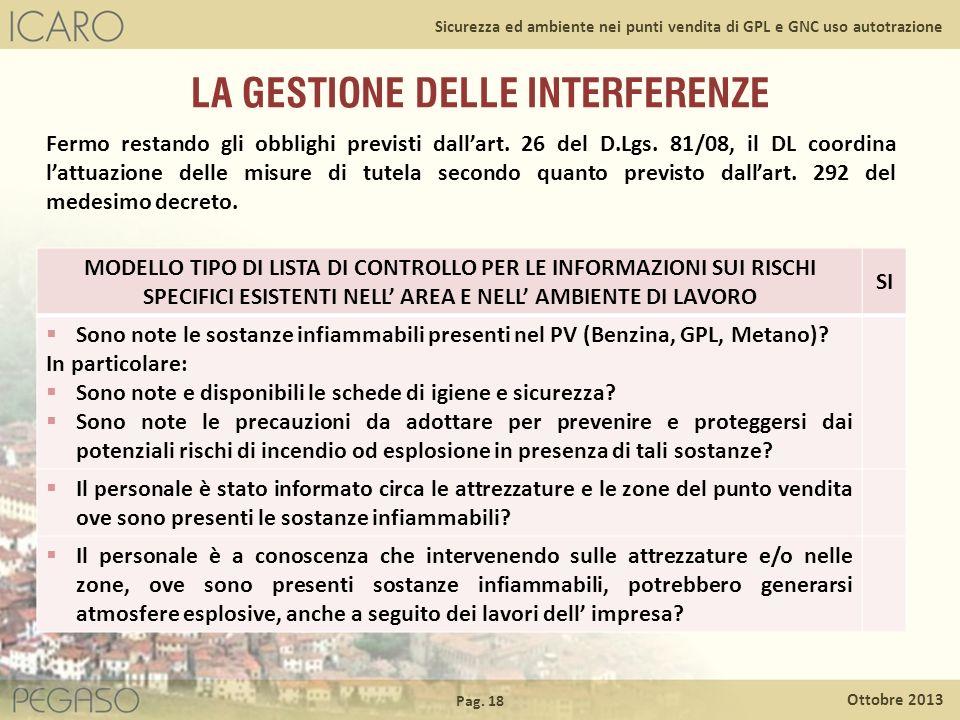 Pag. 18 Ottobre 2013 Sicurezza ed ambiente nei punti vendita di GPL e GNC uso autotrazione LA GESTIONE DELLE INTERFERENZE Fermo restando gli obblighi