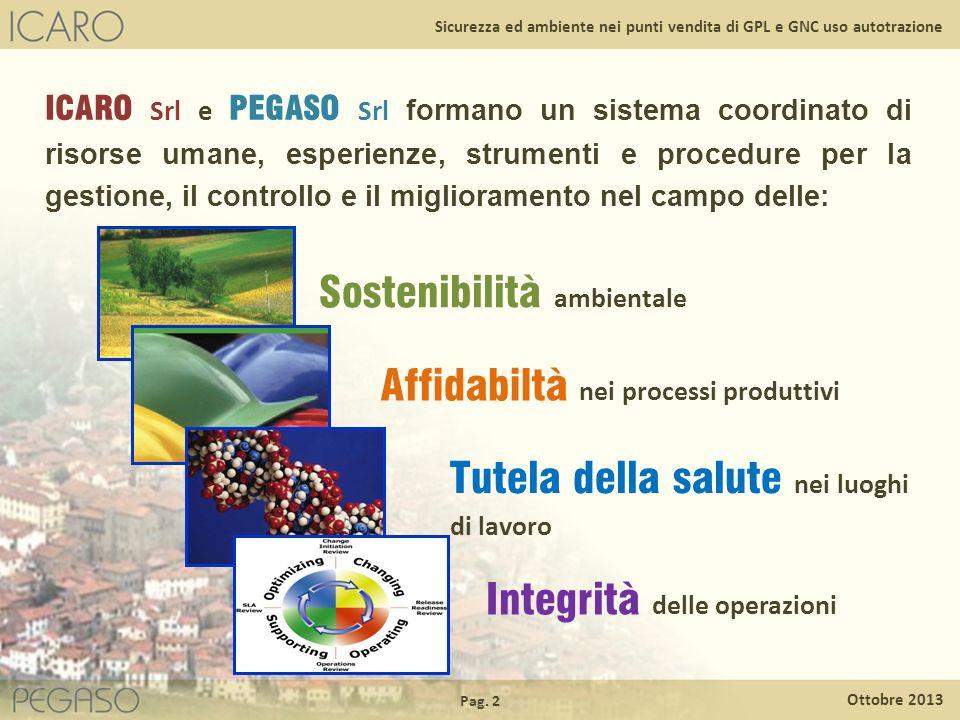 Pag. 2 Ottobre 2013 Sicurezza ed ambiente nei punti vendita di GPL e GNC uso autotrazione ICARO Srl e PEGASO Srl formano un sistema coordinato di riso