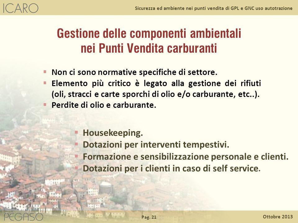 Pag. 21 Ottobre 2013 Sicurezza ed ambiente nei punti vendita di GPL e GNC uso autotrazione Non ci sono normative specifiche di settore. Elemento più c