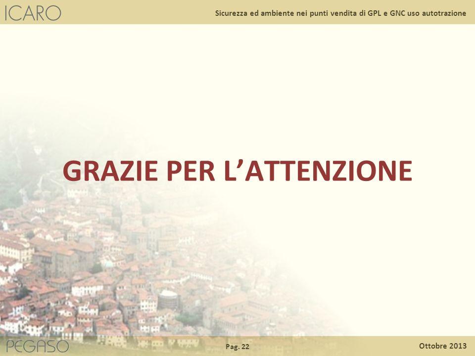 Pag. 22 Ottobre 2013 Sicurezza ed ambiente nei punti vendita di GPL e GNC uso autotrazione GRAZIE PER LATTENZIONE