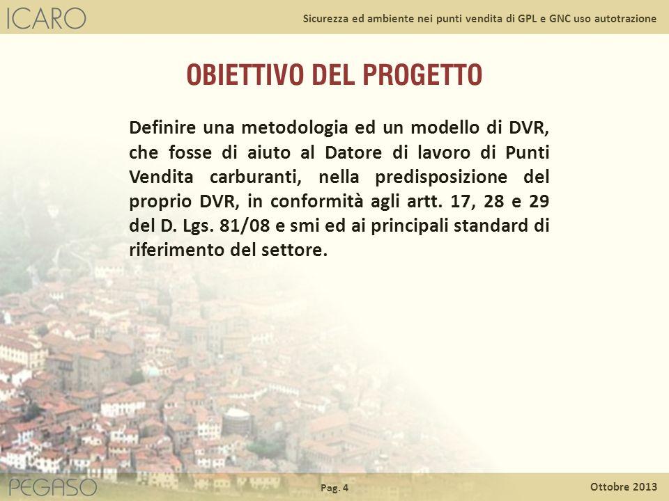 Pag. 4 Ottobre 2013 Sicurezza ed ambiente nei punti vendita di GPL e GNC uso autotrazione OBIETTIVO DEL PROGETTO Definire una metodologia ed un modell