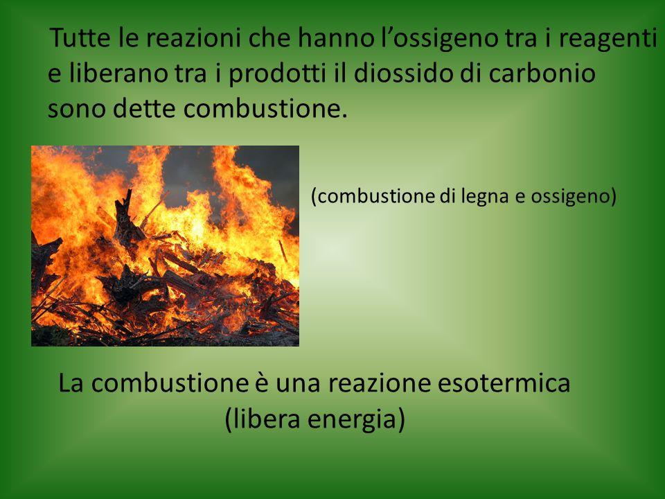 La combustione è una reazione esotermica (libera energia) Tutte le reazioni che hanno lossigeno tra i reagenti e liberano tra i prodotti il diossido d
