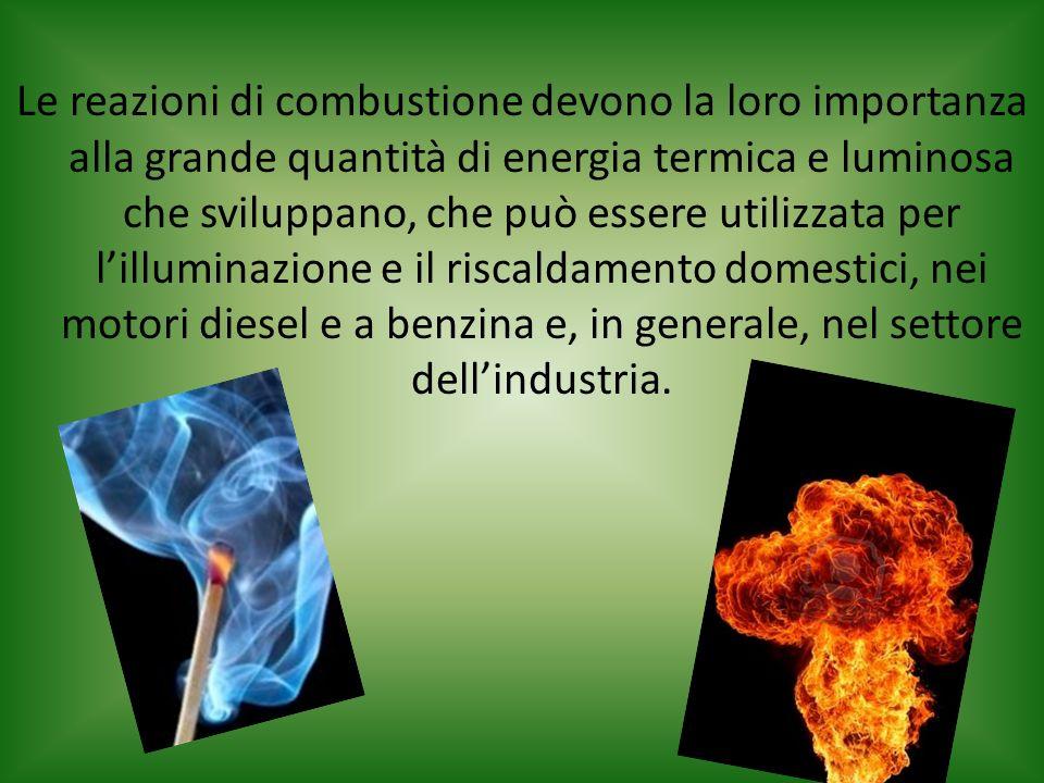 Le reazioni di combustione devono la loro importanza alla grande quantità di energia termica e luminosa che sviluppano, che può essere utilizzata per