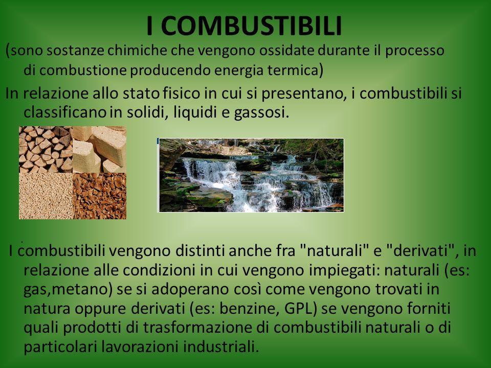 I COMBUSTIBILI ( sono sostanze chimiche che vengono ossidate durante il processo di combustione producendo energia termica ) In relazione allo stato f