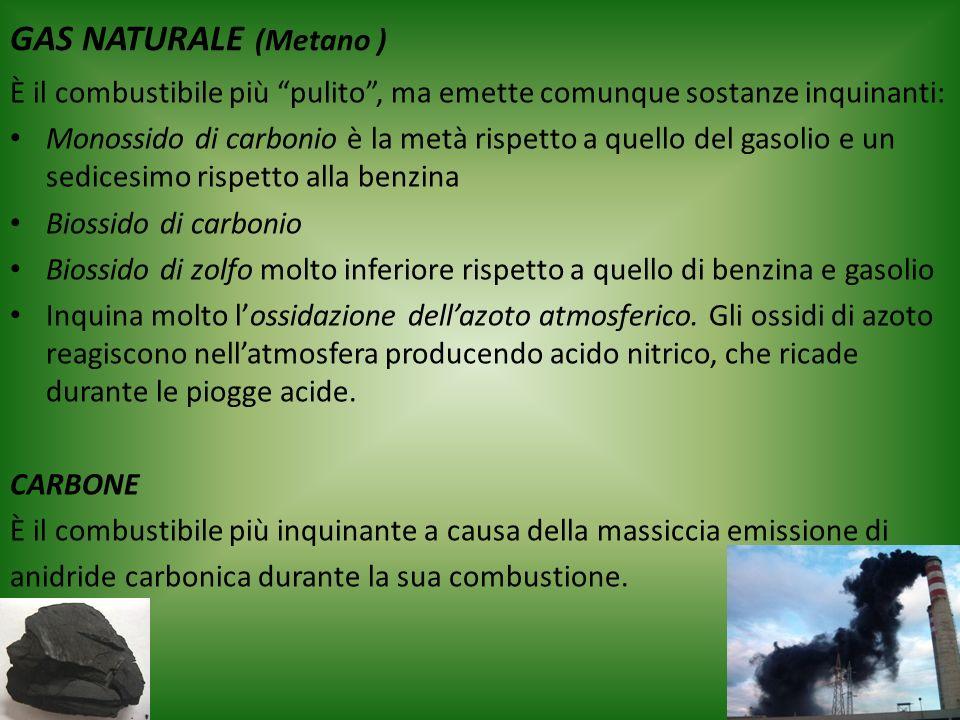 GAS NATURALE (Metano ) È il combustibile più pulito, ma emette comunque sostanze inquinanti: Monossido di carbonio è la metà rispetto a quello del gas
