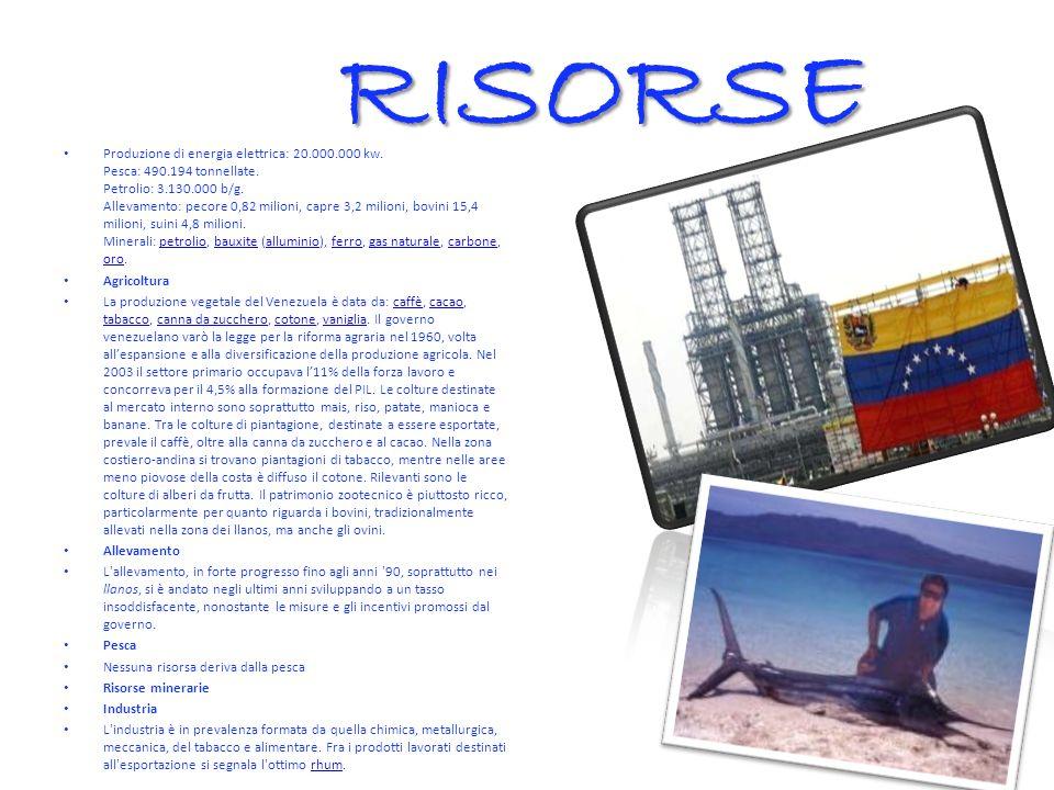 RISORSE Produzione di energia elettrica: 20.000.000 kw.