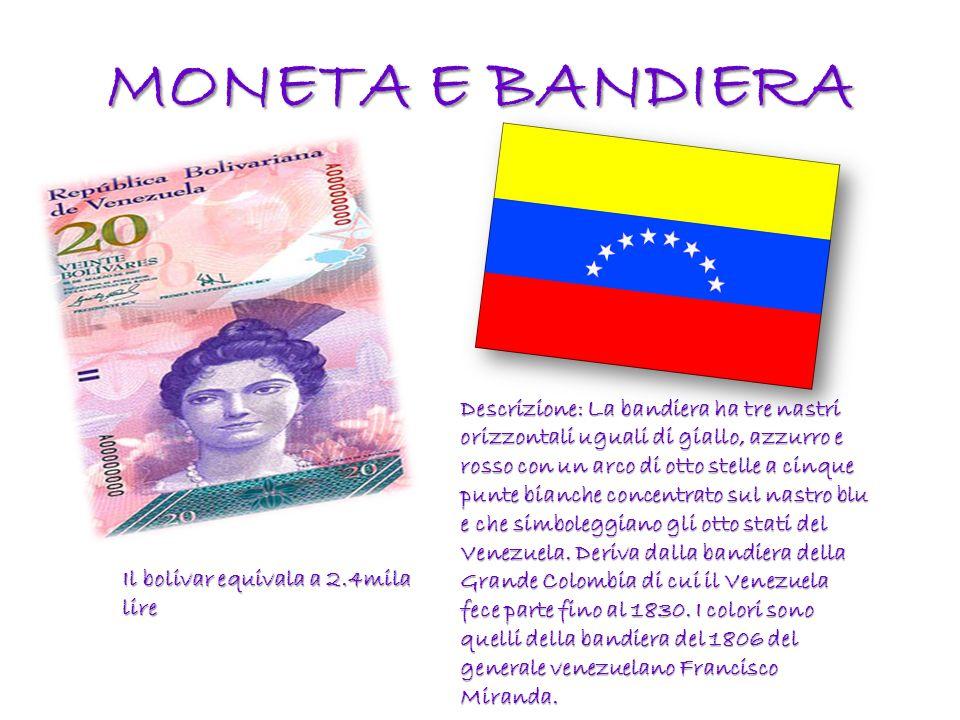 MONETA E BANDIERA Il bolivar equivala a 2.4mila lire Descrizione: La bandiera ha tre nastri orizzontali uguali di giallo, azzurro e rosso con un arco di otto stelle a cinque punte bianche concentrato sul nastro blu e che simboleggiano gli otto stati del Venezuela.