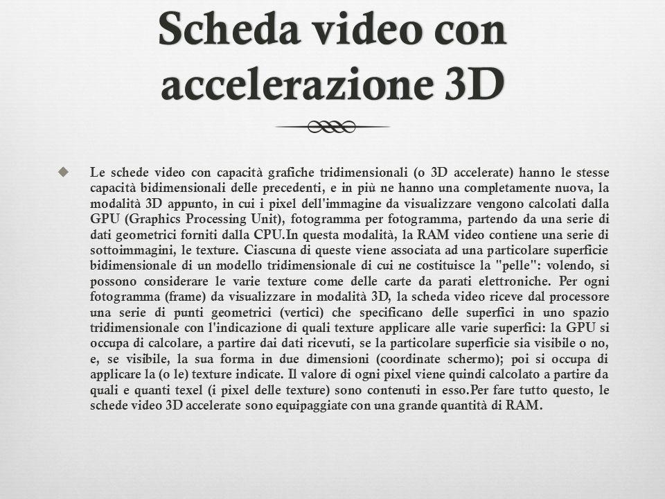 Scheda video con accelerazione 3D Le schede video con capacità grafiche tridimensionali (o 3D accelerate) hanno le stesse capacità bidimensionali dell