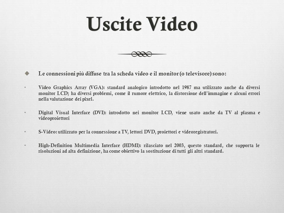 Uscite VideoUscite Video Le connessioni più diffuse tra la scheda video e il monitor (o televisore) sono: Video Graphics Array (VGA): standard analogi