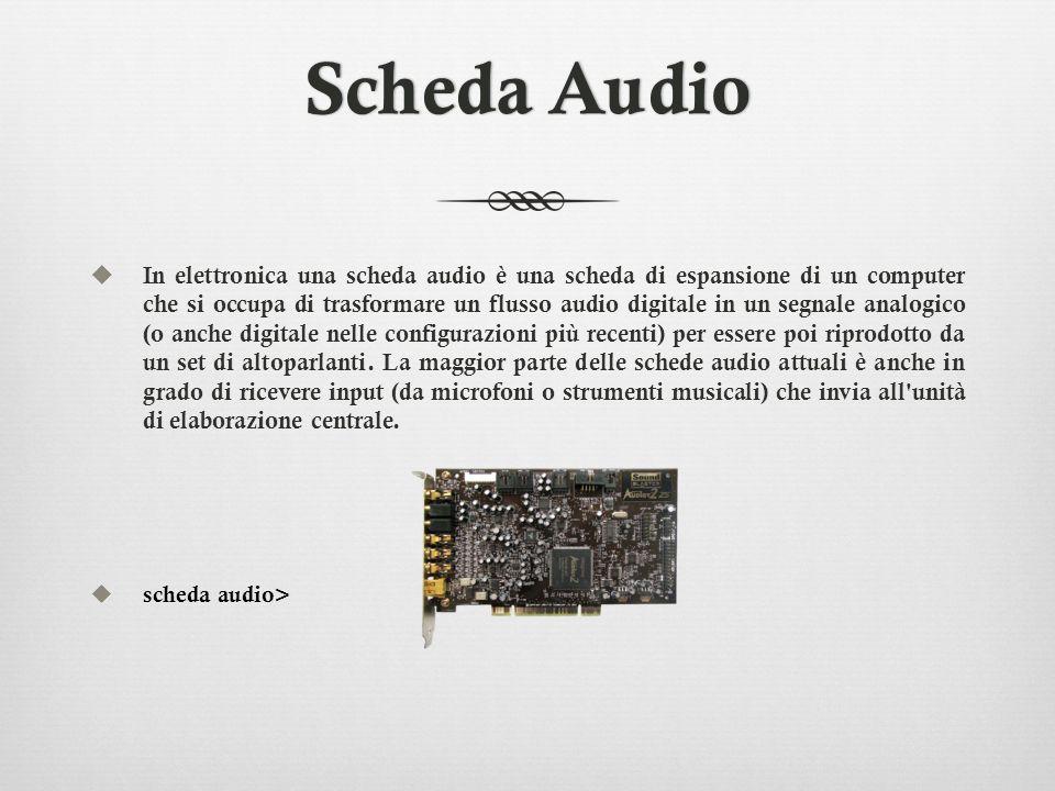 Scheda AudioScheda Audio In elettronica una scheda audio è una scheda di espansione di un computer che si occupa di trasformare un flusso audio digita