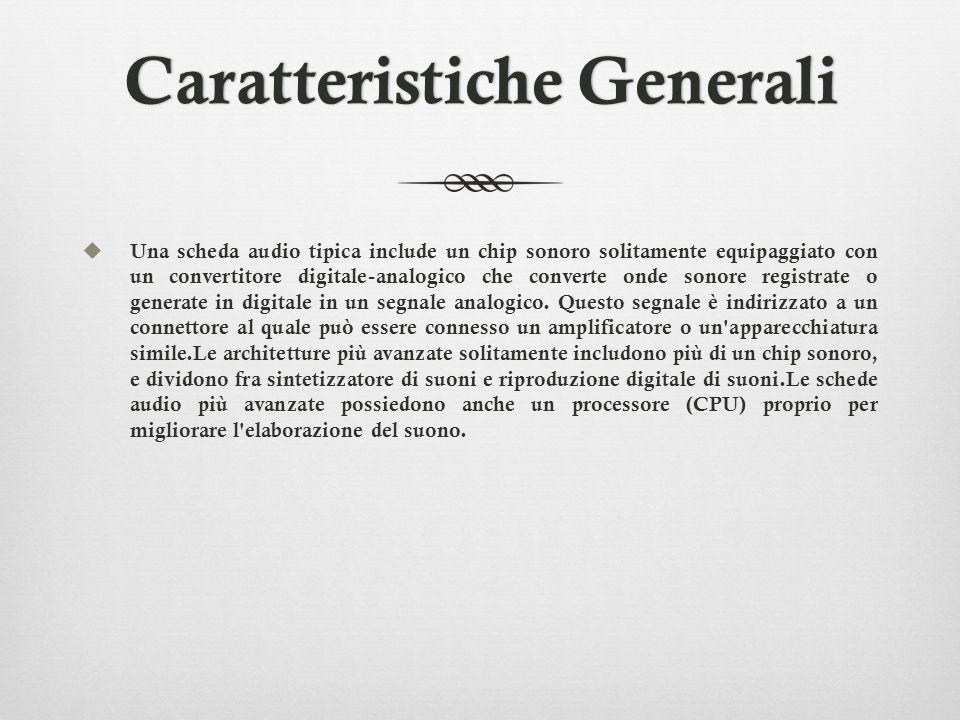 Caratteristiche GeneraliCaratteristiche Generali Una scheda audio tipica include un chip sonoro solitamente equipaggiato con un convertitore digitale-