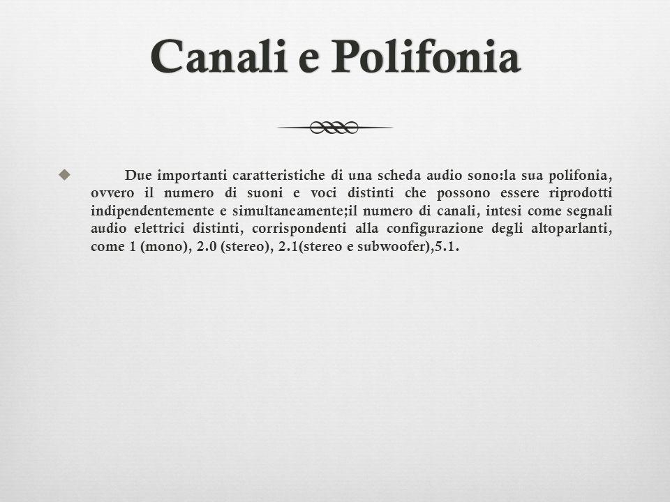 Canali e PolifoniaCanali e Polifonia Due importanti caratteristiche di una scheda audio sono:la sua polifonia, ovvero il numero di suoni e voci distin